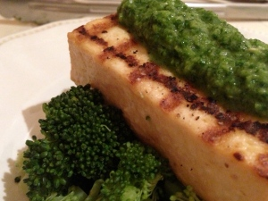Pesto/Sauce on Grilled Tofu & Broccoli